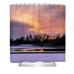 Shower Curtain featuring the photograph Winter Sunset by Bryan Carter