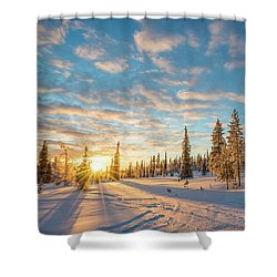 Shower Curtain featuring the photograph Winter Sunset by Delphimages Photo Creations