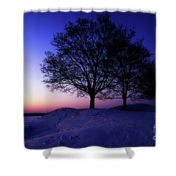 Winter Sunset Shower Curtain by Hannes Cmarits