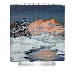 Winter Sunset In The Mountains Shower Curtain by Irek Szelag