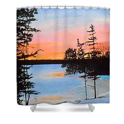 Winter Sunset Laurel Lake Lenox Ma Shower Curtain by William Tremble