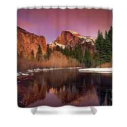 Shower Curtain featuring the photograph Winter Sunset Lights Up Half Dome Yosemite National Park by Dave Welling