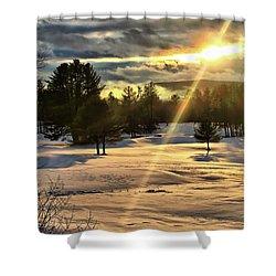 Winter Sunset Rays  Shower Curtain