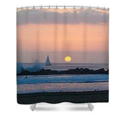 Winter Sunset, Venice Breakwater Shower Curtain by Mark Barclay