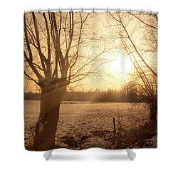Winter Sunset Shower Curtain by Wim Lanclus