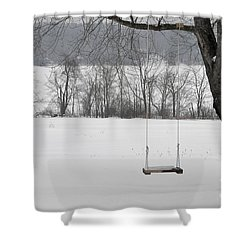 Shower Curtain featuring the photograph Winter Swing by John Black