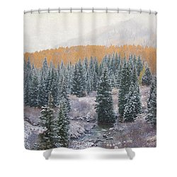 Winter Touches The Mountain Shower Curtain