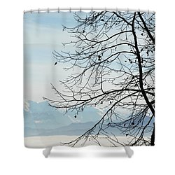 Winter Tree And Alps Mountains Upon The Fog Shower Curtain