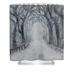 Shower Curtain featuring the painting Winter Tree Tunnel by Robin Maria Pedrero