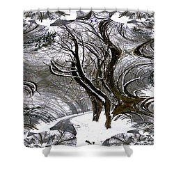 Winter Trees Abstract Shower Curtain