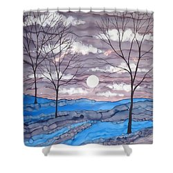 Winter Trees And Moon Landscape Shower Curtain