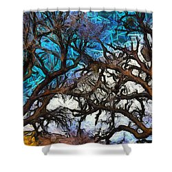 Shower Curtain featuring the photograph Winter Trees At Fort Tejon Lebec California Abstract by Floyd Snyder