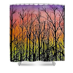 Winter Trees At Sunset Shower Curtain