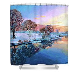 Winter Trees Shower Curtain by Conor McGuire