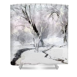 Winter Trees Shower Curtain by Francesa Miller
