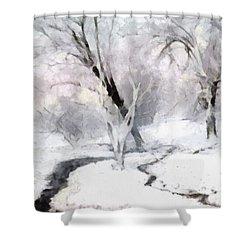 Shower Curtain featuring the digital art Winter Trees by Francesa Miller
