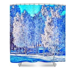Winter Trees Shower Curtain by Ron Bissett