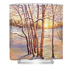 Winter Trees Sunrise Shower Curtain by Lou Ann Bagnall