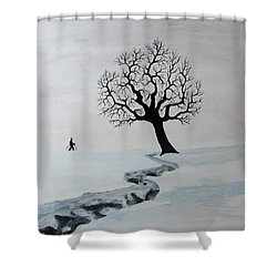 Shower Curtain featuring the painting Winter Trek by Jack G Brauer
