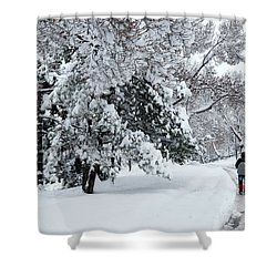 Shower Curtain featuring the photograph Winter Trekking-3 by Okan YILMAZ