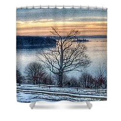 Winter Twilight At Fort Allen Park Shower Curtain