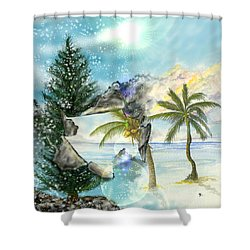 Shower Curtain featuring the digital art Winter Vacation by Darren Cannell