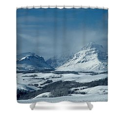 Winter View Of Rising Wolf Mountain Shower Curtain