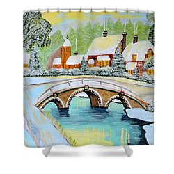 Winter Village Shower Curtain by Magdalena Frohnsdorff