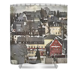 Shower Curtain featuring the digital art Winter Village With Red House by Shelli Fitzpatrick