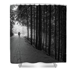 Winter Walk - Austria Shower Curtain by Mountain Dreams