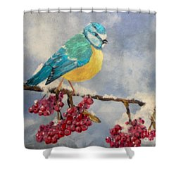 Shower Curtain featuring the painting Winter Watch by Saundra Johnson
