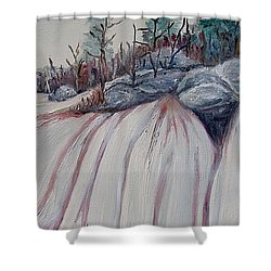 Shower Curtain featuring the painting Winter Waterfall by Marilyn  McNish