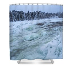 Winter Waterfall Shower Curtain by Tamara Sushko
