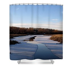 Shower Curtain featuring the photograph Winter Waters At Lake Kegonsa by Kimberly Mackowski