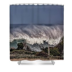 Winter Waves Shower Curtain by Shirley Mangini