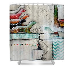 Winter Weasels  Shower Curtain