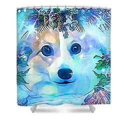 Shower Curtain featuring the digital art Winter Welsh Corgi by Kathy Kelly