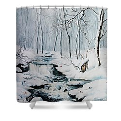 Shower Curtain featuring the painting Winter Whispers by Hanne Lore Koehler