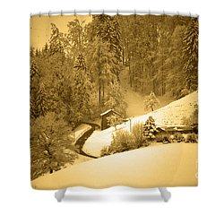 Shower Curtain featuring the photograph Winter Wonderland In Switzerland - Up The Hills by Susanne Van Hulst