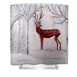 Winter Wonderland - Painting Shower Curtain by Veronica Rickard