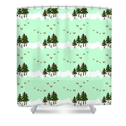 Shower Curtain featuring the mixed media Winter Woodlands Bird Pattern by Christina Rollo