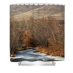 Winter Yakima River With Hills And Orchard Shower Curtain by Carol Groenen