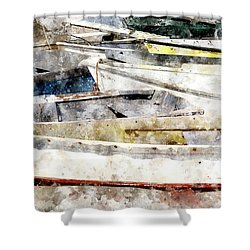 Winterport Dories Wc Shower Curtain by Peter J Sucy