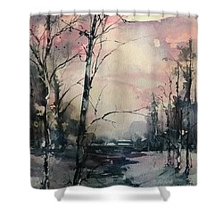 Winter's Blush Shower Curtain