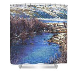 Winter's Edge, Flat Creek Jackson Shower Curtain by Louise Green