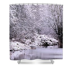 Winters First Icy Breath Shower Curtain by Baggieoldboy