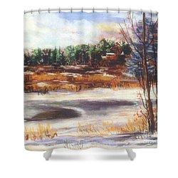 Winter's Light Shower Curtain by Sandy Sereno
