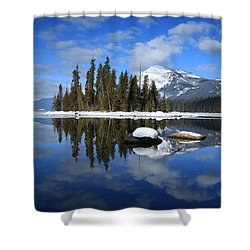 Winters Mirror Shower Curtain by Lynn Hopwood