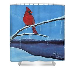 Shower Curtain featuring the painting Winter's Red by Susan DeLain