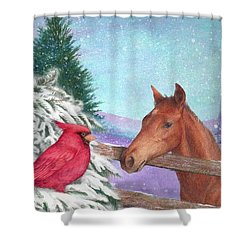 Winterscape With Horse And Cardinal Shower Curtain